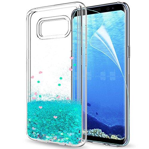 LeYi Coque Galaxy S8 Plus Etui avec Film de Protection écran, Fille Personnalisé Liquide Paillette Transparente 3D Silicone Gel TPU Antichoc Kawaii Housse pour Samsung Galaxy S8 Plus Bleu Ciel