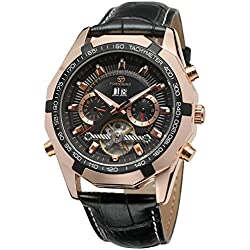Forsining Men's Automatic Self-winding Calendar Day Tourbillon Leather Strap Wrist Watch FSG340M3T3