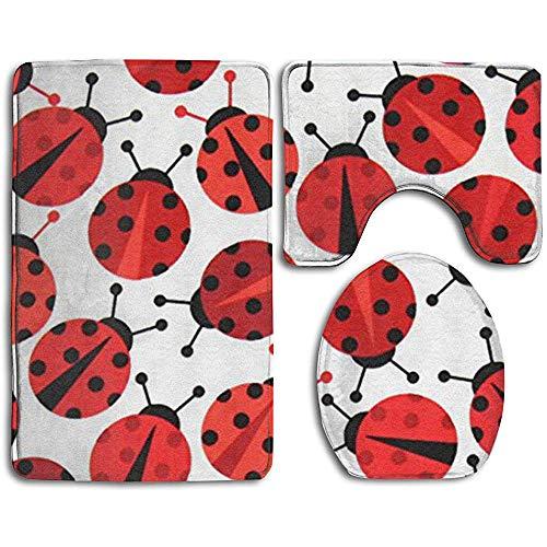 SOMN bath mats Badteppichmatte - Toilettensitzbezug und Teppich - rutschfest Urban Zoologie Ladybugs Rote Badteppichmatte Bad Küche Teppich Fußmatten