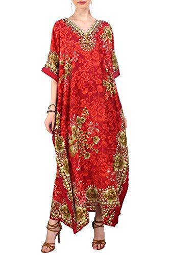 9ecff6cfc0 Miss Lavish London Femmes Kaftan Tunique Kimono Grande taille Robe pour  Loungewear Vacances Nuit Vêtements Plage