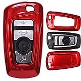 mt-key Auto Schlüssel Cover Hülle BMW 5er F10 F11 F18 3er F30 X 3 X1 X 6 6er 1er F20/Farbe: Metallic Rot