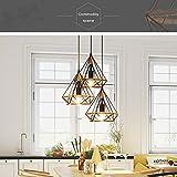 Lampadario di corda di canapa/lampada di arte di ferro/lampadario di diamante/lampadario gabbia di uccello/bar ristorante luce/triangolo creativo lampadario retrò (round)
