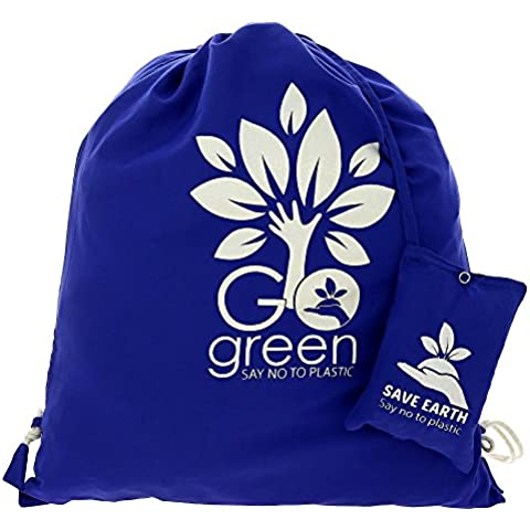 Multiuso Save the Earth coulisse Top zaino blu - amichevole riutilizzabile di Eco Borsa in cotone Shopping