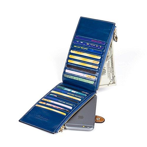 BOSTANTEN Vera Pelle Donna Portafoglio Portamoneta Portatessere Porta Carta Di Credito blu