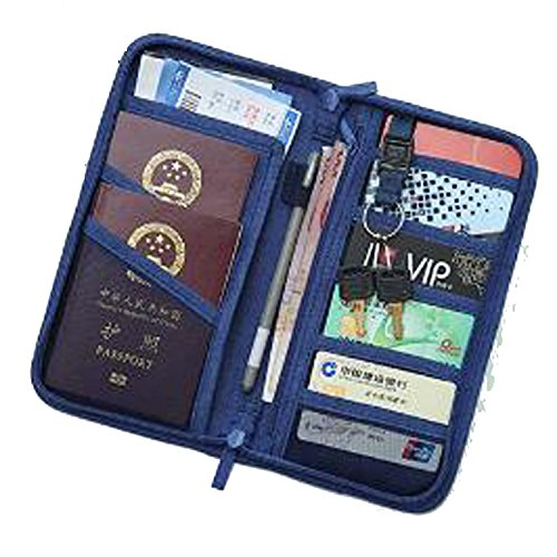 Passeport voyage paquet certificat de stockage multifonctionnel papeterie porte-monnaie multifonctions, bleu [Dimension: 23.5x12.5x3cm]