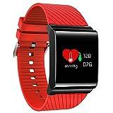 Fitness Tracker Uhr, Aktivität Armband Smart Watch Mit Herzfrequenz Blutdruck Monitor, IP67 Wasserdicht Schrittzähler Schlaf Monitor Activity Tracker Für IOS Android Smartphones,Red