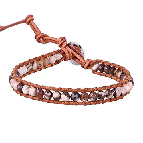 KELITCH Natürlich Edelstein Achat Perlen Leder Wickel Armband Handmade Gewebt Geflochten Armband(Schokolade) - Armband Schokolade