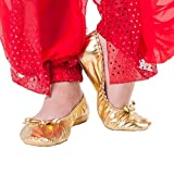 BOZEVON Ballettschuhe der Mädchen-Damen-Frauen Goldene Weiche Sohlen-Trainings-Schuhe, Bauchtanzschuhe, Indische Tanzschuhe (Silber (Pailletten),CN 41)