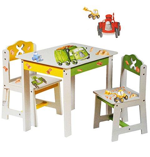 3 tlg. Set: Sitzgruppe für Kinder - aus sehr stabilen Holz - weiß -' Bagger / Traktor & Auto' - Tisch + 2 Stühle / Kindermöbel für Jungen & Mädchen - Kindertisch - Kinderstuhl - Kinderzimmer für circa 1 - 3 Jahre - Kindersitzgruppe - Tischgruppe / Stühlen - Baustelle
