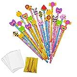 JZK® 24 x Cute Crayons de Bois avec des caoutchoucs pour Dessin animés pour Les Enfants, Les fêtes de Fin d'année, Les Sacs de fête, Le Cadeau d'anniversaire Parfait pour Noël