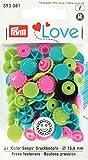 PrymLove. Botones / Cierres de precisión, de plástico, en forma de flor, color turquesa, manzana verde, rosa brillante, de 13,6mm, 30piezas