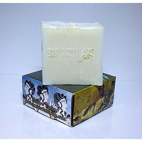 CARIA Burbujeante PURE and SIMPLE Barra de jabón (piel sensible) Sin perfume Hecho a mano natural con oliva y aceite de coco