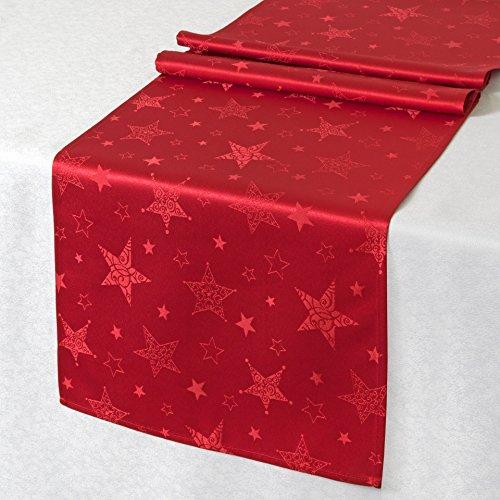 Kamaca Lotus Effekt Tischdecke Magic Stars mit Sternen Motiv - mit FLECKSCHUTZ - Flüssigkeiten perlen einfach ab (Tischläufer 40x140 cm, Rot)
