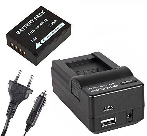 3in1-SET für die Fujifilm FinePix HS50EXR / HS30EXR / HS33EX / X-T1 / X-Pro1 / X-E1 / X-E2 / X-A1 / X-M1 Digitalkamera --- Akku für Fuji NP-W126 (1100mAh) + 4in1 Ladegerät (u.a. mit USB / micro-USB und Kfz/Auto) inkl. PATONA Displaypad