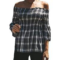 Hanomes Damen pullover, Frauen Lattice Casual Top Fashion T Shirt Damen Schulterfrei Langarm Bluse preisvergleich bei billige-tabletten.eu