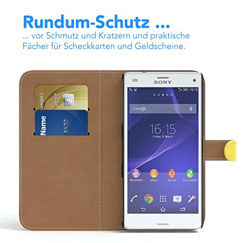 Sony Xperia Z3 Compact Hülle - EAZY CASE Premium Flip Case Handyhülle - Schutzhülle aus Leder in Braun Gelb (Book)