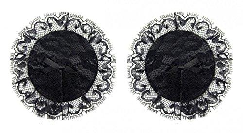 WODISON dentelle silicone Nipple Cover Adhésif Sexy Pasties avec Bow Tie réutilisable pour femmes