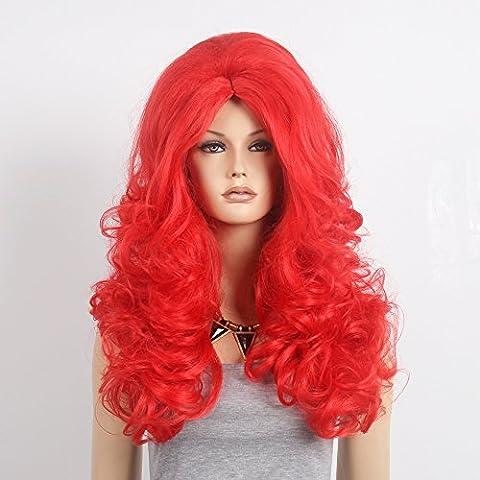 stfantasy Perücken für Frauen Extra Lang Gelockt hitzebeständiges Synthetikhaar 71,1cm 360g flauschig Wig peluca frei Hair Net + Clips, rot