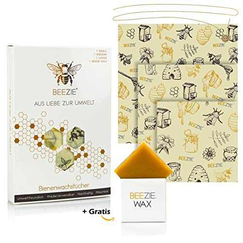 Premium Wachspapier, Bienenwachstücher für Lebensmittel | 3er-Set, XL | inkl. Gratis Wachs zum Nachtragen & Knopf mit Band | Wiederverwendbar | Plastikfrei | groß | für Brot, Käse, etc.