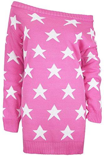 Oops Outlet Womens aus der Schulter Top Damen Sehen Sterne Bardot Strick Übergröße Kleid Pullover Erdbeer-rosa