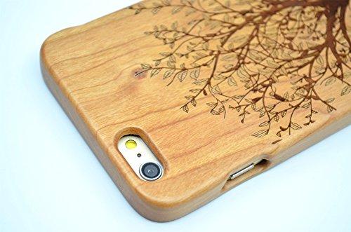 RoseFlower(TM) iPhone 6 (4,7 Zoll (11,9 cm) Holzhülle - Kirschbaum-Elefanten - NatürlicheHandgemachteBambus / Holz Schutzhüllemit Kostenlose Displayschutzfolie für Ihr Smartphone Kirschbaum-Weihnachtsbaum
