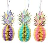 OULII 3pcs Wabenbälle girlande Wabenpapier Hawaiian Ananas Party Dekoration (Mehrfarben)