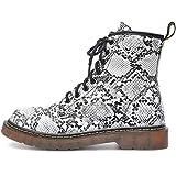 Vain Secrets Damen Army Schüren Boots Stiefeletten mit Profilsohle viele Farben (36 EU, Schwarz-Weiß Snake)