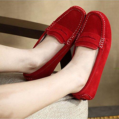 Oriskey Damen Mokassin Bootsschuhe Wildleder Loafers Schuhe Flache Fahren Halbschuhe Slippers Rot