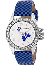 Matrix White Dial & Blue Leather Strap Analog Watch for Women's/Girls- (WN-14)