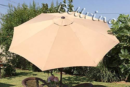 BELLRINO DECOR Ersatz taupe Robust und dick Regenschirm Himmel für 9ft 8Rippen, taupe (Himmel nur) -