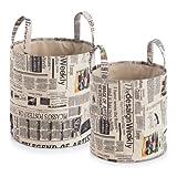 "Zeller 14147 Korb-Set ""Newspaper"", 2-teilig, rund, Kunststoff, ø 32 x 35, ø 36 x 38 cm"