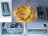 9,9M Lichterkette MIT FERNBEDIENUNG / 100 Mikro LED und Batteriebetrieb warm-weiß für Innen und Außen / Baumkette LED Christbaumkette Tannenbaumkette Weihnachtsbaumkette