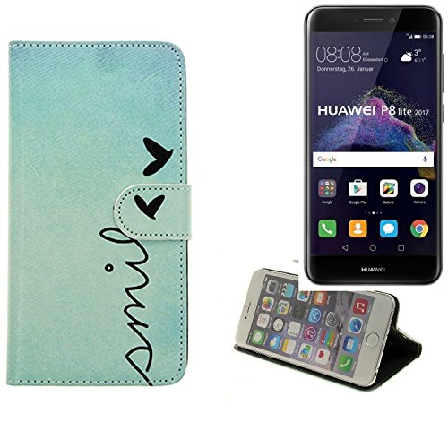 K-S-Trade Für Huawei P8 Lite 2017 Dual SIM Hülle Wallet Case Schutzhülle Flip Cover Tasche bookstyle Etui Handyhülle ''Smile'' türkis Standfunktion Kameraschutz (1Stk)