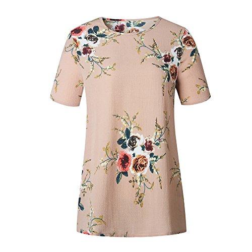 Longra le donne di o-neck stampa floreale camicetta a maniche corte Cachi