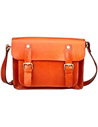 Hereby Kuer Women's Genuine Leather Retro Messenger Tote Top-handle Purse Shoulder Bag Cross-Body Handbag (Brwon1)