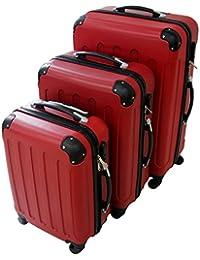 Todeco - Set de 3 maletas Trolley rojas – Maletas rígidas aseguradas con rueda