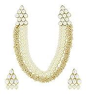 Zaveri Pearls Gold Non-Precious Metal Beautiful Pearl & Kundan Necklace Set For Women-Zpfk4788