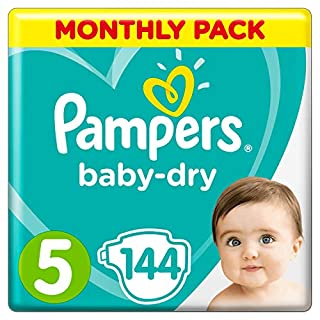 Pampers Baby-Dry, 144 Nappies, 11-16 kg, Monthly Saving Pack, Air Channels for Breathable Dryness Overnight, Size 5 (B00AR9HX3G) | Amazon price tracker / tracking, Amazon price history charts, Amazon price watches, Amazon price drop alerts