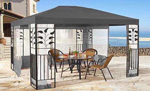 QUICK STAR Garten Blätter Pavillon 3x4m Grau mit 4 Seitenteilen mit Moskitonetz Grau Partyzelt Metall Carport