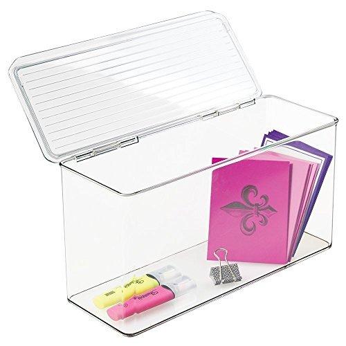 mDesign Scatola Organizzatore Ufficio e Scrivania per Penne, Matite, Pennarelli, Forbici, Appunti, Nastro Adesivo - Trasparente