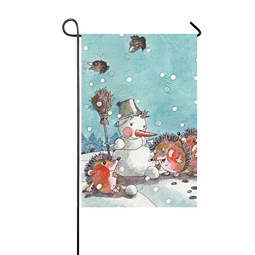 interestprint Watercolor Igel Modell Schneemann Lange Polyester Garten Flagge Banner 30,5 x 45,7 cm, Fahne Deko Happy New Year in der Schnee-Winter für Hochzeitstag/für Home Outdoor Garden Decor