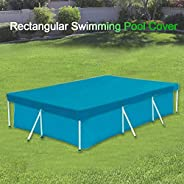 Decdeal Rectangular Pool Cover Water Resistant PE Swimming Pool Cover