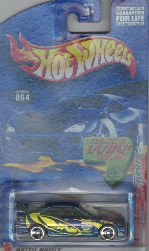 Hot Wheels 2002 064 blue/yellow honda civic 2 OF 4 TUNERS with race and win code 1:64 Scale Die-cast Collectible Car by Mattel
