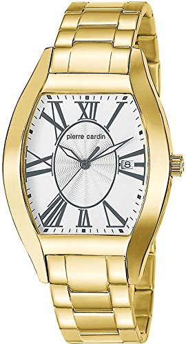 Pierre Cardin Men's Quartz Watch with Silver Dial Analogue Display and Gold Stainless Steel Bracelet PC104541S06