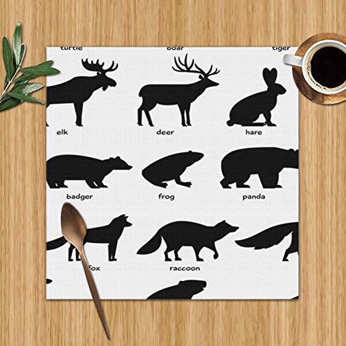 Wild-tier-silhouette (Green Haoke Set mit 6 Tischsets Sammlung Silhouetten Wald Wilde Tiere Tierwelt Dachs Objekte Waschbar Dekorative Tischsets 12×12 Zoll)