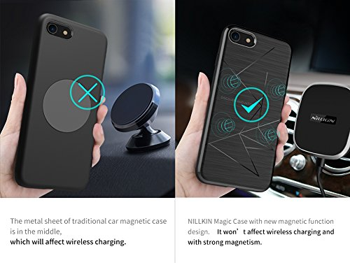 Meimeiwu Magic Case Series morbido TPU Flessibile Silicone Copertura posteriore della custodia protettiva Back Cover [Compatibile con Nillkin Magnetic Wireless Car Charger] Per iPhone 8 - Nero Nero