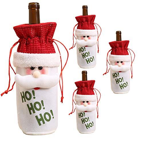 FEFEHOME Weihnachten Wein Flasche Schutzhülle Geschenk Taschen Urlaub Décor (Set von 3)-Eine I