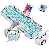 Guanwen Teclado mecánico para Juegos Ratón y Auriculares, Interruptor Azul Teclado con Cable de Metal Azul LED LED + 3200 PPP Ratón + Auriculares para Juegos con luz de respiración Colorida