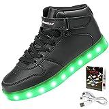 Shinmax Hallo-Top LED Schuhe 7 Farben Andern Mit Leuchtender USB Aufladbar die Männer Frauen Leuchtende Schuhe Leuchtschuhe Sneakers mit CE-Zertifikat (44 EU, Schwarz)