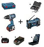 Bosch SET: GSR 18V-EC Akku-Bohrschrauber (bürstenlos) + GML Soundboxx Baustellenradio inkl. 2x 4.0 Ah Akku, Ladegerät, 43-tlg. Bitset, 19-tlg. HSS-G Spiralbohrersatz (profilgeschliffen) in L-Boxx
